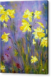 Acrylic Print featuring the painting Spring Daffodils by Claire Bull