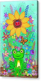 Spring Flowers And Frogs Acrylic Print