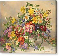 Spring Flowers And Poole Pottery Acrylic Print by Albert Williams