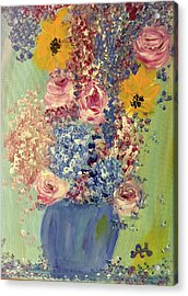 Spring Flowers In Vase Acrylic Print by Angela Holmes