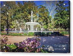 Spring Fountain Acrylic Print by Joan McCool