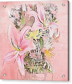 Spring Fowers With Vase Acrylic Print