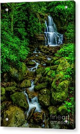 Spring Green Waterfall And Rhododendron Acrylic Print