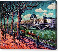 Spring On The Banks Of The Rhone - Lyon France - Modern Impressionist Oil Painting By Mona Edulesco Acrylic Print