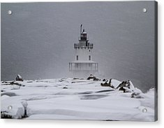 Spring Point Ledge Lighthouse Blizzard Acrylic Print