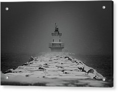 Spring Point Ledge Lighthouse Blizzard In Black N White Acrylic Print