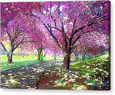 Spring Rhapsody, Happiness And Cherry Blossom Trees Acrylic Print