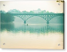 Acrylic Print featuring the photograph Spring - Rowing Under The Strawberry Mansion Bridge by Bill Cannon