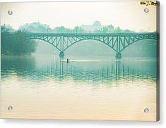 Spring - Rowing Under The Strawberry Mansion Bridge Acrylic Print
