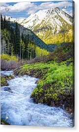 Spring Snow Melt Wasatch Mountains Utah Acrylic Print by Utah Images