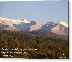 Acrylic Print featuring the photograph Spring Snow On The Sangre De Cristos Truchas Peaks by Anastasia Savage Ealy