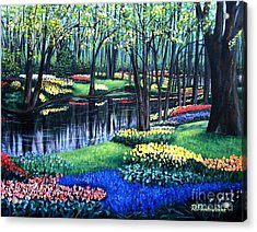 Acrylic Print featuring the painting Spring Splendor Tulip Garden by Patricia L Davidson