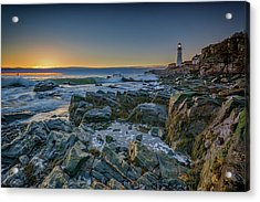 Acrylic Print featuring the photograph Spring Sunrise At Portland Head by Rick Berk