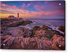 Spring Sunset At Portland Head Lighthouse Acrylic Print by Rick Berk