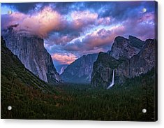 Spring Sunset At Yosemite's Tunnel View Acrylic Print