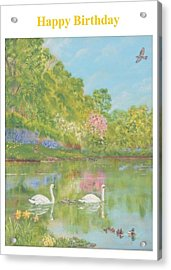 Spring Swans Birthday Acrylic Print by David Capon