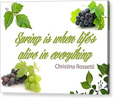 Spring Time Quotes Acrylic Print by Celestial Images