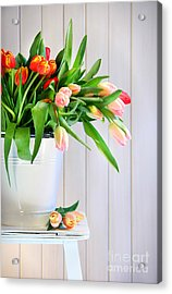Spring Tulips On An Old Bench Acrylic Print by Sandra Cunningham