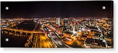 Springfield Massachusetts Night Long Exposure Panorama Acrylic Print by Petr Hejl