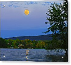 Spring's First Full Moon Smith Mountain Lake Acrylic Print