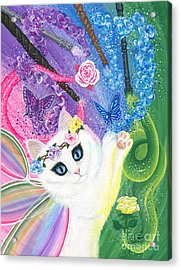 Acrylic Print featuring the painting Springtime Magic - White Fairy Cat by Carrie Hawks