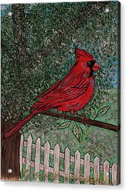 Acrylic Print featuring the painting Springtime Red Cardinal by Kathy Marrs Chandler