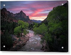 Springtime Sunset At Zion National Park Acrylic Print