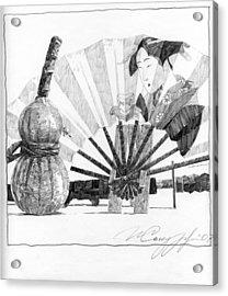 Spirit Of Japan. Pumpkin Jar And Fan Acrylic Print by Igor Sakurov