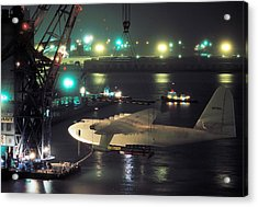 Spruce Goose Hanging From Crane February 10 1982 Acrylic Print by Brian Lockett
