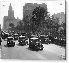 Squad Cars In Police Parade Acrylic Print by Underwood Archives