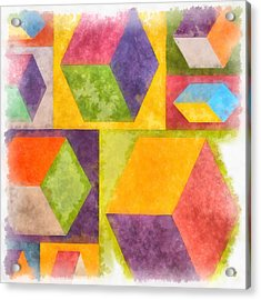 Square Cubes Abstract Acrylic Print