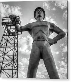 Acrylic Print featuring the photograph Square Format Tulsa Oklahoma Golden Driller - Black And White by Gregory Ballos