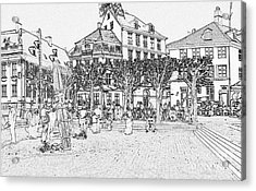 Square In Copenhagen At Nyhavn Acrylic Print by Sascha Meyer