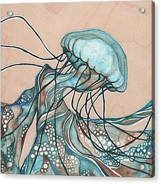 Square Lucid Jellyfish On Wood Acrylic Print