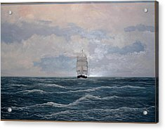 Square Rigger Acrylic Print by Ken Ahlering