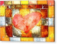 Squared Heart Acrylic Print by Carol Leigh