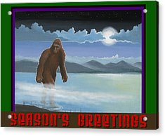 Acrylic Print featuring the digital art Squatch Season's Greetings by Stuart Swartz