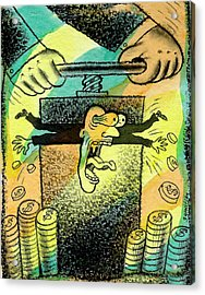 Squeezing The Tax Acrylic Print by Leon Zernitsky