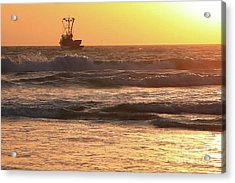 Squid Boat Golden Sunset Acrylic Print