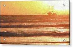 Squid Boat Sunset Acrylic Print