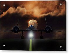 Acrylic Print featuring the digital art Sr-71 Supermoon by Peter Chilelli