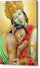 Sri Ram Embracing Hanuman Acrylic Print