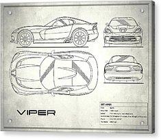 Srt Viper Blueprint Acrylic Print by Mark Rogan