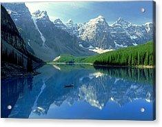 S.short Canoeist, Moraine Lake, Ab, Fl Acrylic Print by Steve Short