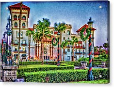St. Augustine Downtown Christmas Acrylic Print
