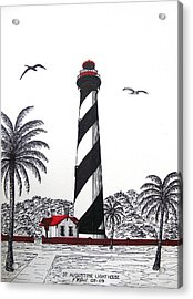 St Augustine Lighthouse Drawing Acrylic Print