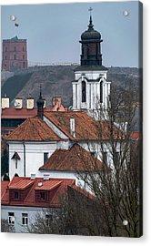 St Bartholomew And Vilnius Castle Acrylic Print