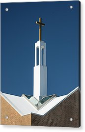 Acrylic Print featuring the photograph St Benedicts Church Rooftop by Gary Slawsky