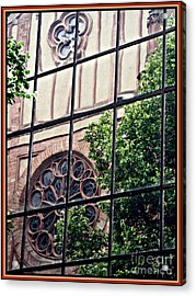 St Boniface Church In Reflection  Acrylic Print by Sarah Loft