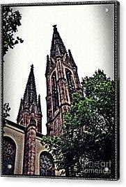 St Boniface Church Towers   Acrylic Print by Sarah Loft